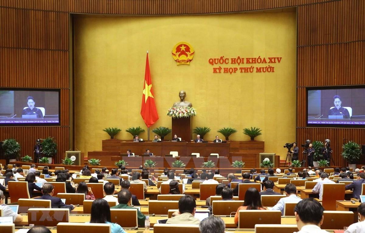 越南第十四届国会第十次会议场景。图自越通社