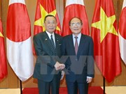 越南国会主席阮生雄同日本参议院议长山崎正昭举行会谈