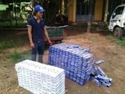 越南西宁省警方缴获从柬埔寨走私入境的9000包香烟
