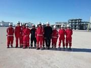 越阿石油项目的首批商品油正式出油