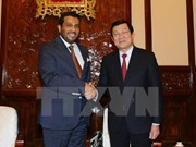 越南国家主席张晋创接见卡塔尔驻越大使
