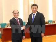 中国媒体重点报道越南国会主席阮生雄的中国之行