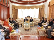胡志明市委书记丁罗升走访慰问原老挝领导人