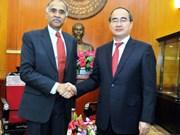 越南祖国阵线中央委员会主席阮善仁会见各国新任驻越南大使