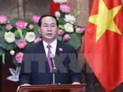 越南新任国家主席陈大光接受媒体记者的采访