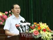 越南国家主席陈大光与胡志明市第四郡选民接触