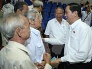 越南国家主席陈大光与胡志明市第一郡选民接触