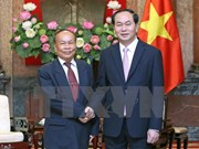 越南国家主席陈大光会见柬埔寨国家宗教事务部高级部长亨柴