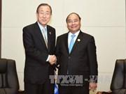 越南政府总理阮春福分别会见联合国秘书长与澳大利亚总理
