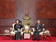 国会主席阮氏金银会见老挝建国阵线主席赛宋蓬·丰威汉
