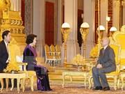 国会主席阮氏金银礼节性拜会柬埔寨国王诺罗敦•西哈莫尼