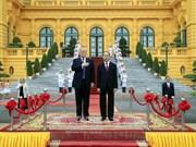 越南国家主席陈大光为美总统特朗普举行隆重欢迎仪式 (组图)