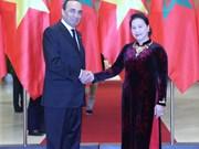 越南国会主席阮氏金银与摩洛哥众议院议长哈比博·马勒克举行会谈 (组图)