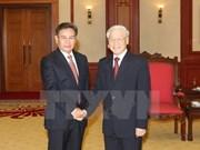 越共中央总书记阮富仲会见老挝建国阵线中央委员会高级代表团