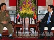 越南国家主席张晋创会见朝鲜人民武力部长朴勇植