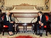 胡志明市人民委员会主席阮成峰会见国际货币基金组织总裁