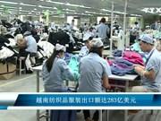 越南纺织品服装出口额达283亿美元