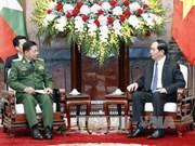 越南国家主席陈大光会见缅甸国防军总司令敏昂莱