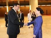 越南国会主席阮氏金银与泰国国家立法议会议长蓬佩举行会谈(组图)