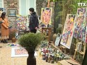 越南画家画笔下的美朝领导人肖像