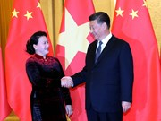 阮氏金银主席会见中共中央总书记、国家主席习近平