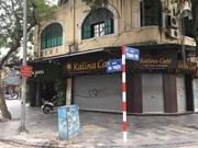 组图: 河内街头店铺、咖啡店歇业    严格限制人群聚集