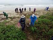组图:洪涝灾害过后  岘港市展开海洋环境清洁活动