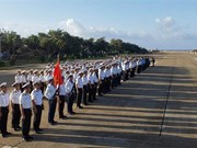 庆和省长沙群岛军民举行升旗仪式