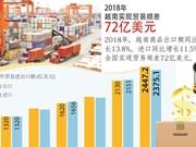 图表新闻:2018年越南实现贸易顺差72亿美元