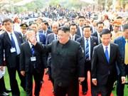 朝鲜最高领导人金正恩离开同登火车站 结束对越南进行正式友好访问(组图)