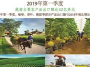 图表新闻:2019年第一季度越南主要农产品出口额达42亿美元