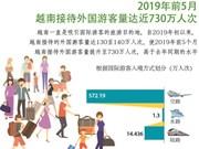 图表新闻:2019年前5月越南接待外国游客量达近730万人次