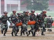 越中两军开展灾害救援联合演练活动(组图)