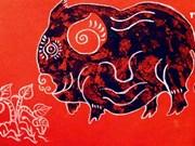 """越南各类民间画中""""猪""""的形象"""
