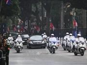 朝鲜最高领导人金正恩的车队抵达河内