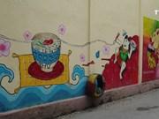 玉河花村壁画展现昔日百花绽放的美景