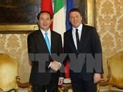 越南国家主席陈大光会见意大利总理马泰奥•伦齐