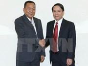 越通社社长与老挝巴特寮通讯社社长进行会谈