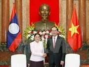 越南国家主席陈大光会见老挝国会主席巴妮·雅陶都