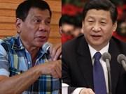 菲总统杜特尔特与中国国家主席习近平通电话