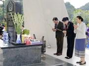 越老两国国会主席前往西进52号团历史遗迹区敬香