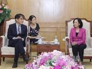 越共中央民运部部长会见国际劳工组织驻越南首席代表