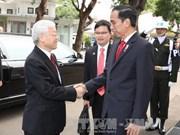 印尼总统举行隆重仪式欢迎阮富仲总书记到访
