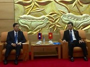 越南友好组织联合会领导会见老挝和平与团结委员会主席