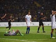 第29届东南亚运动会男足决赛:泰国队1-0击败马来西亚队夺得金牌