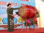 越南国会主席阮氏金银出席前江省黎玉欣初中学校开学典礼