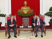 越共中央组织部部长会见老挝内务部部长