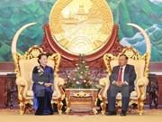 越南国会主席阮氏金银会见老挝人民革命党中央总书记、国家主席本扬·沃拉吉