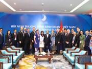越南政府总理阮春福密集会见出席越南商务峰会的各国企业代表团