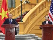 越南国家主席陈大光与美国总统特朗普召开联合新闻发布会